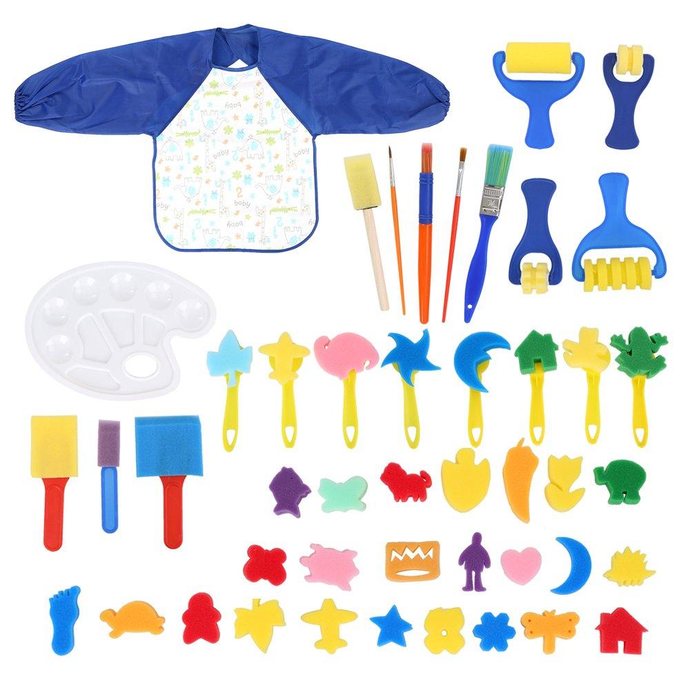 Art & Craft 46 Pieces Early Learning Sponge Painting Brushes Set for Kits Early DIY Learning Making DIY Include 24 pcs Painting Shapes,Art CraftsSponge Brush, Flower Pattern Brush, Brush Set, Palette OGORI