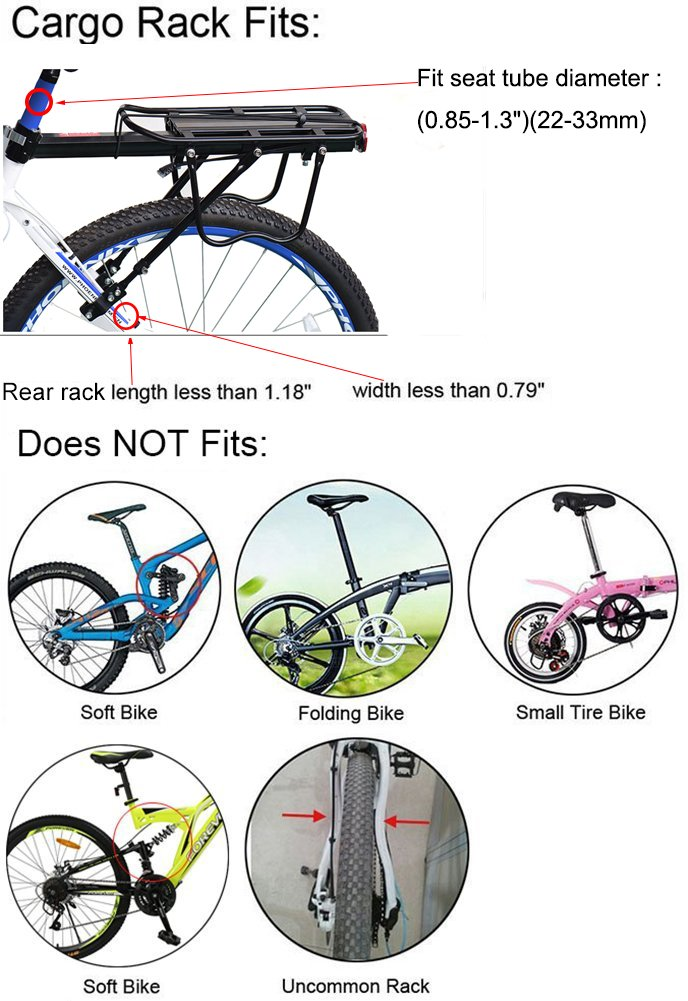 Bike Cargo Racks Bicycle Pannier Rack Mountain Carrier Rear Rack Seat Load 50Kg Luggage Bags for Cycling Camping Sport by Calar (Image #6)