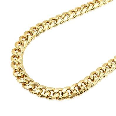 10k Gold Cuban Link Chain >> Amazon Com 10k Solid Yellow Gold 10mm Hollow Miami Cuban Link Chain