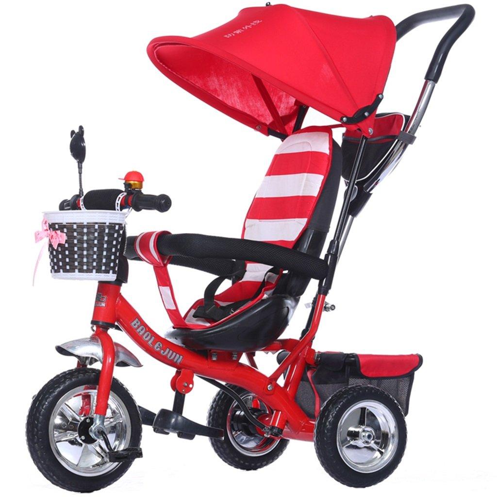 KANGR-子ども用自転車 多機能4-in-1チャイルド三輪車キッドトロリープッシュハンドルステーラー自転車折り畳み式抗UV日よけ  1-3-6歳の少年少女と赤ちゃんのおもちゃ ブレーキ付3輪バイク レッド ( 色 : A型 がた ) B07BTXQCXH A型 がた A型 がた