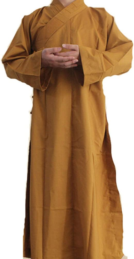 Buddhist Monk Shaolin Dress Meditation Robe Kung Fu Suit Long Gown Loose A04