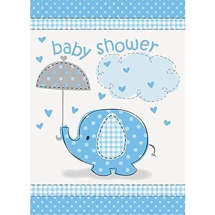 Amazon Com Blue Elephant Boy Baby Shower Invitations 8ct Kitchen