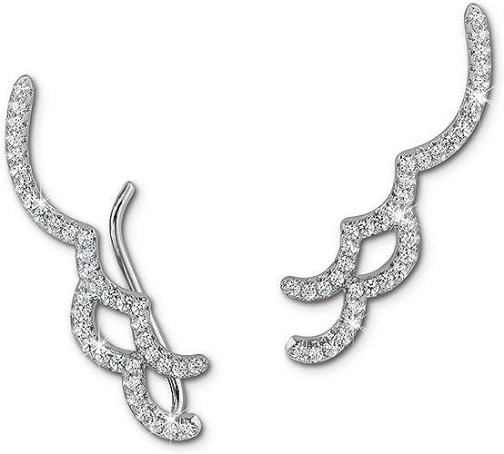 SilberDream Ear Cuff Blumen Zirkonia Ohrringe Ohrklemme 925 Silber GSO416W