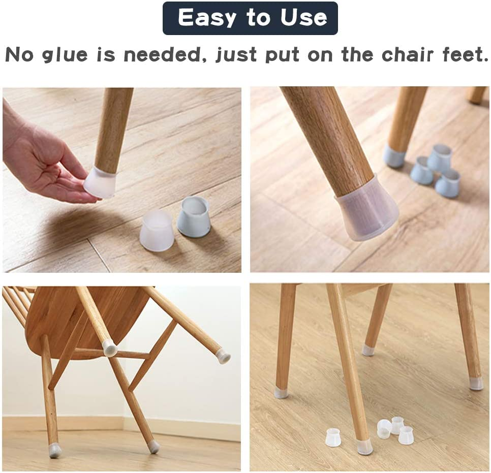 Floor Protector Anti-Slip Bottom Prevents Scratches and Noise KNMY 32Pcs Table Legs Silicone Caps Chair Feet Protection Cover Furniture Pads
