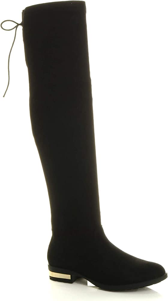 WOMENS LADIES SUEDE OVER THE KNEE THIGH HIGH TALL CALF STRETCH RIDING BOOTS SIZE