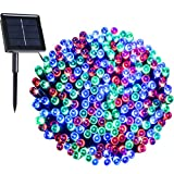 RockBirds SL200-W 200 LED Outdoor String Light Solar Powered 1800mAH Waterproof Starry Fairy Lighting Christmas Light Neon Signs (Multicolor)
