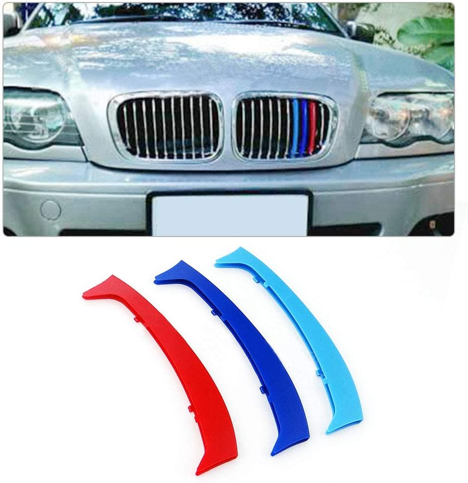 Longzhimei Fit for BMW 3 series E92 E93 318i 320i 325i 328i 330i 335i 320d 325d 2009-2013 M-Colored Front Grille Insert Trim Strips Grill Cover 3Pcs 13 Grilles