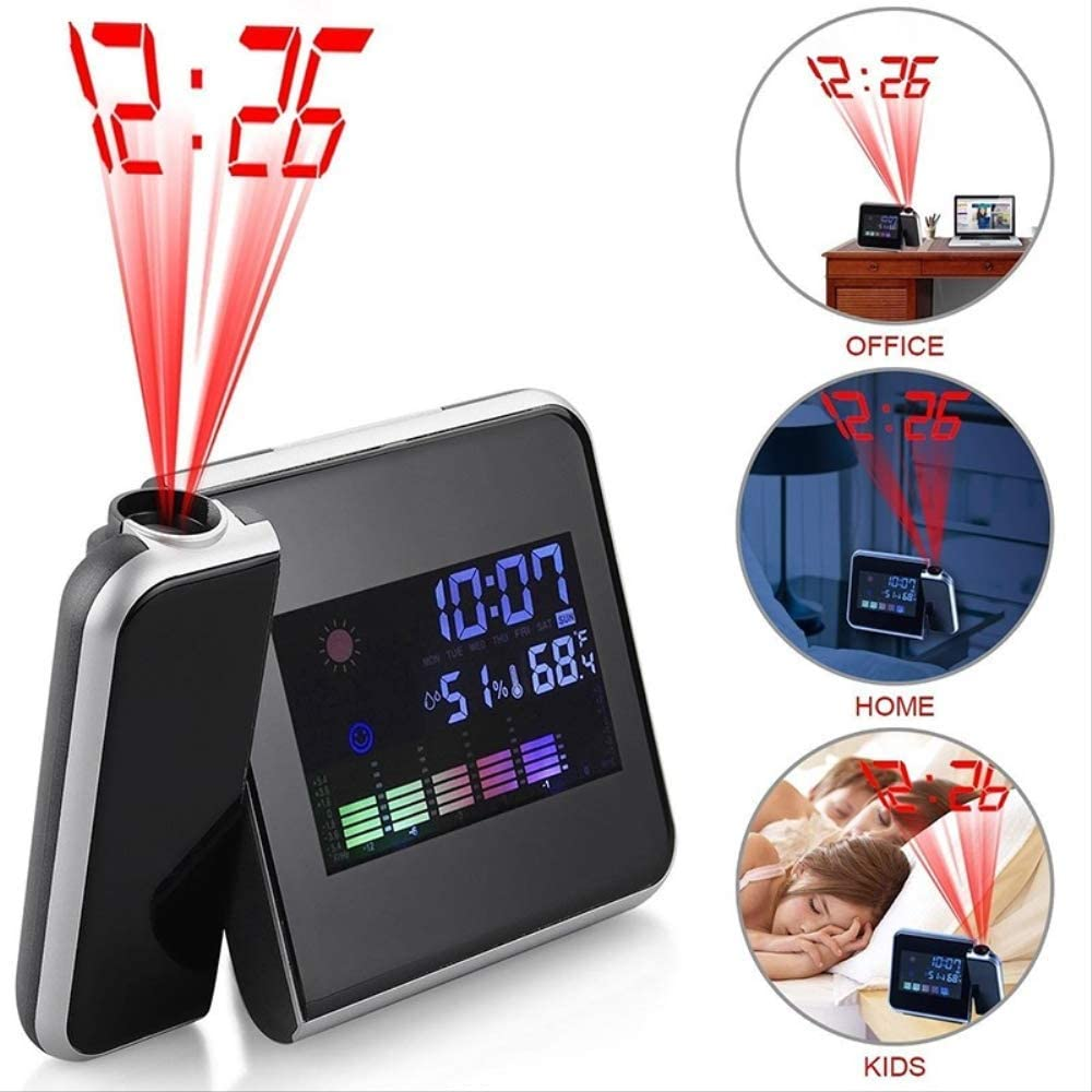 RENQINGLIN Reloj Despertador LED 2020 Nueva proyección Despertador Digital Fecha Snooze función retroiluminación proyector de Escritorio Escritorio led Reloj con proyección de Tiempo