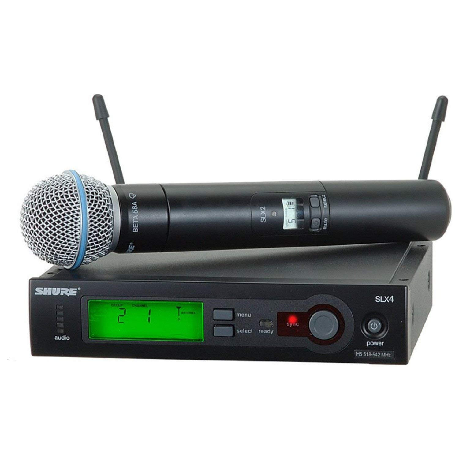 Shure SLX24/BETA58-G4 Wireless Microphone System (G4/470-494 MHz), Includes SLX4 Receiver, SLX2 Handheld Transmitter and Beta 58 Microphone