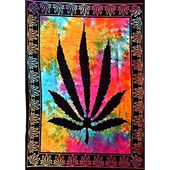 ANJANIYA Marijuana Weed Leaf Psychedelic Tapestry Hempest Ganja Leaves Pot Poster Small Cannabis Hippie Rasta Tapestry Poster 40x30 inches Bohemian Wall Hanging Art Black Boho Hippie Cotton Dorm Decor
