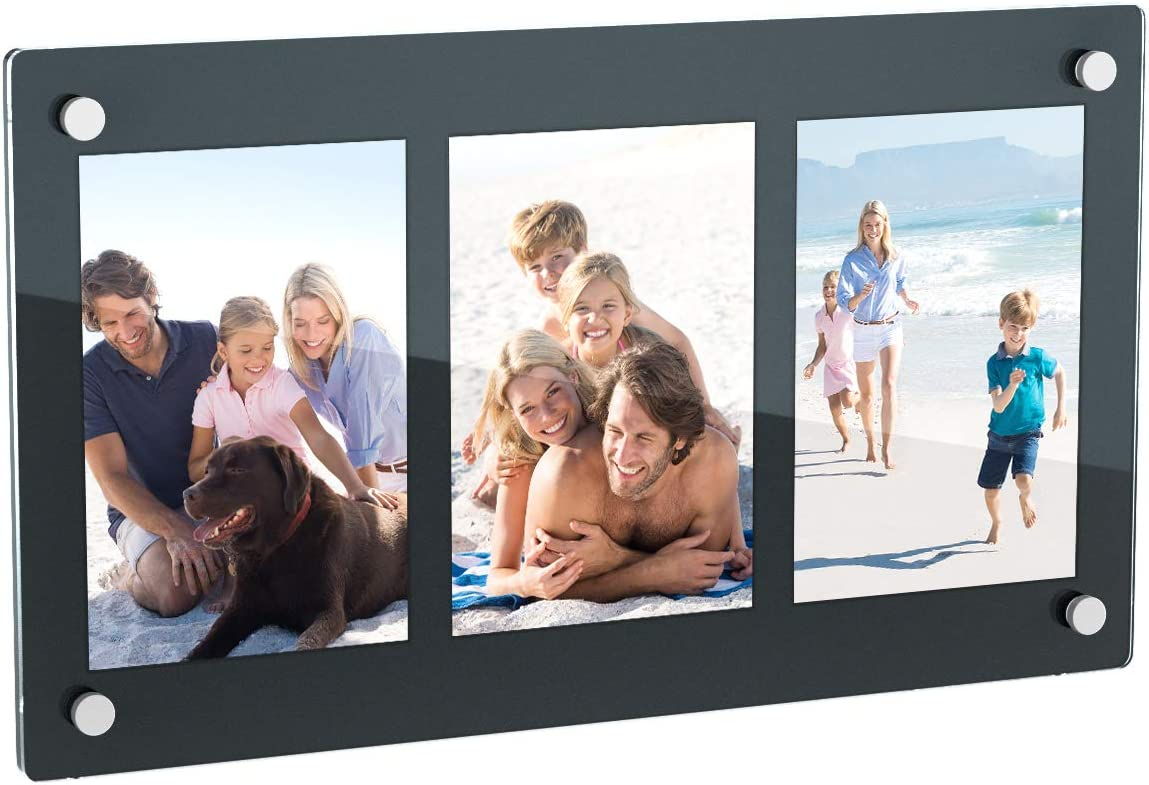 NIUBEE 3 Opening 4x6 Collage Picture Frame, Acrylic Wall Hanging and Desktop Photo Display with Mat (Black)