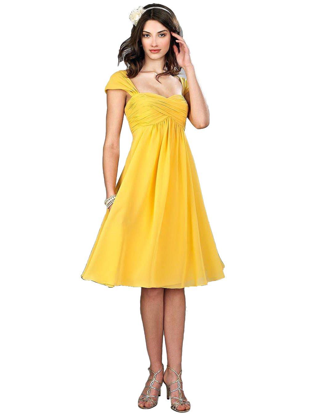 VaniaDress Women Chiffon Tea Length Bridesmaid Dress Party Gowns V274LF Yellow US26W