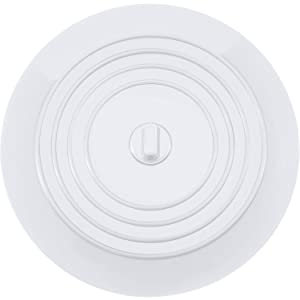 Mudder 6 Inches Silicone Tub Stopper Drain Plug for Kitchens, Bathrooms and Laundries (White, 1)