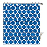 Liguo88 Custom Waterproof Bathroom Shower Curtain Polyester Ikat Decor Collection Ethnic Wild Round Ikat Design Traditional Tribal Exotic Oriental Islamic Art Decor Dark Blue White Decorative bathroo