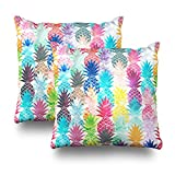 ONELZ Watercolor Hawaiian Tropical Pineapple Square Decorative Throw Pillow Case, Fashion Style Zippered Cushion Pillow Cover (18X18 inch,Set of 2)
