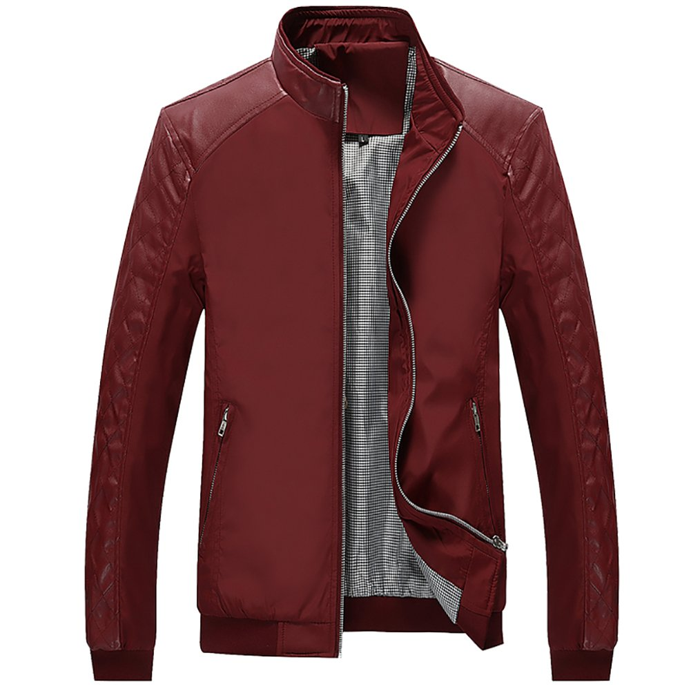 Biker Jacket Fall and Sping Fashion Faux Leather CasualJackets,Wine Red,Large by Kolongvangie