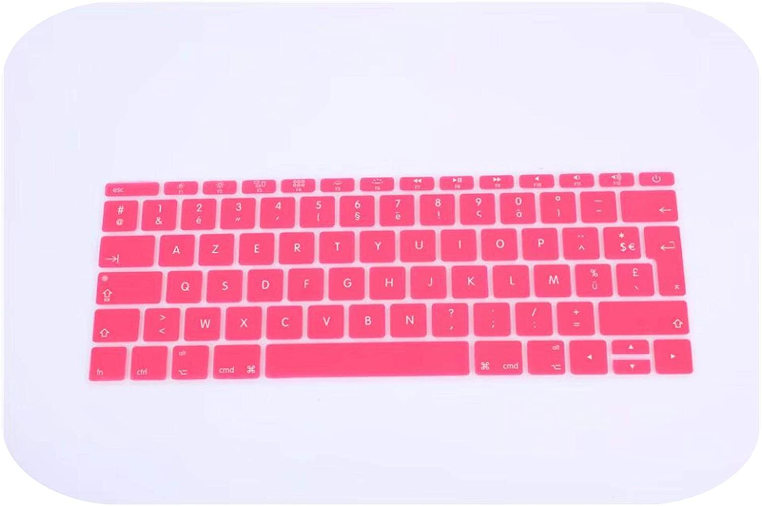 for 12 A1534 Retina-White Azerty French UK Silicone Keyboard Cover Skin for MacBook New Pro 13 A1708 2016 Version,No Touch Bar