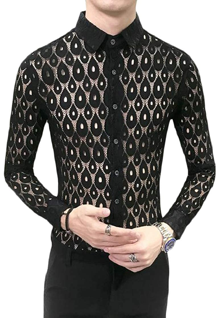 Joe Wenko Men Breathable Lace Lapel Neck Skinny Hollow Button Down Shirts