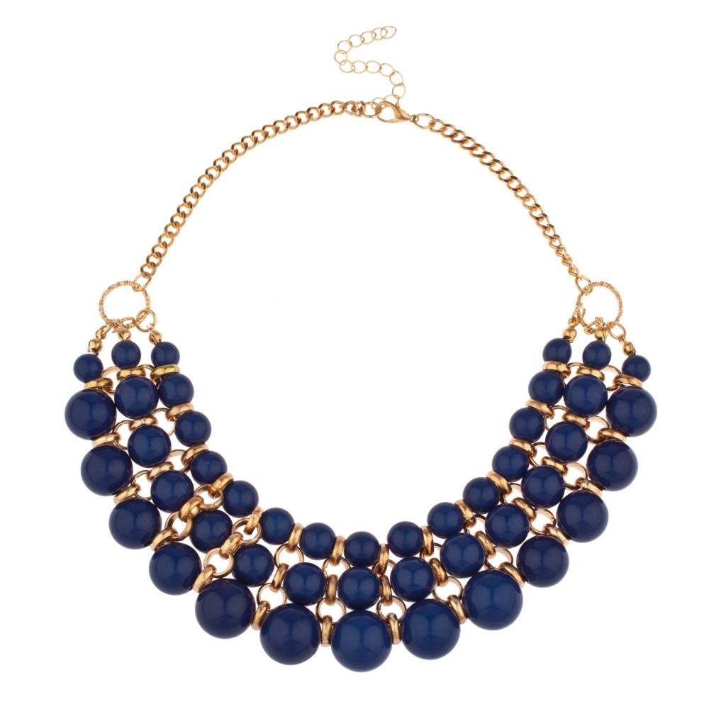 Lux Accessories Multi Row Beaded Bib Statement Chain Necklace N169852-6-N264