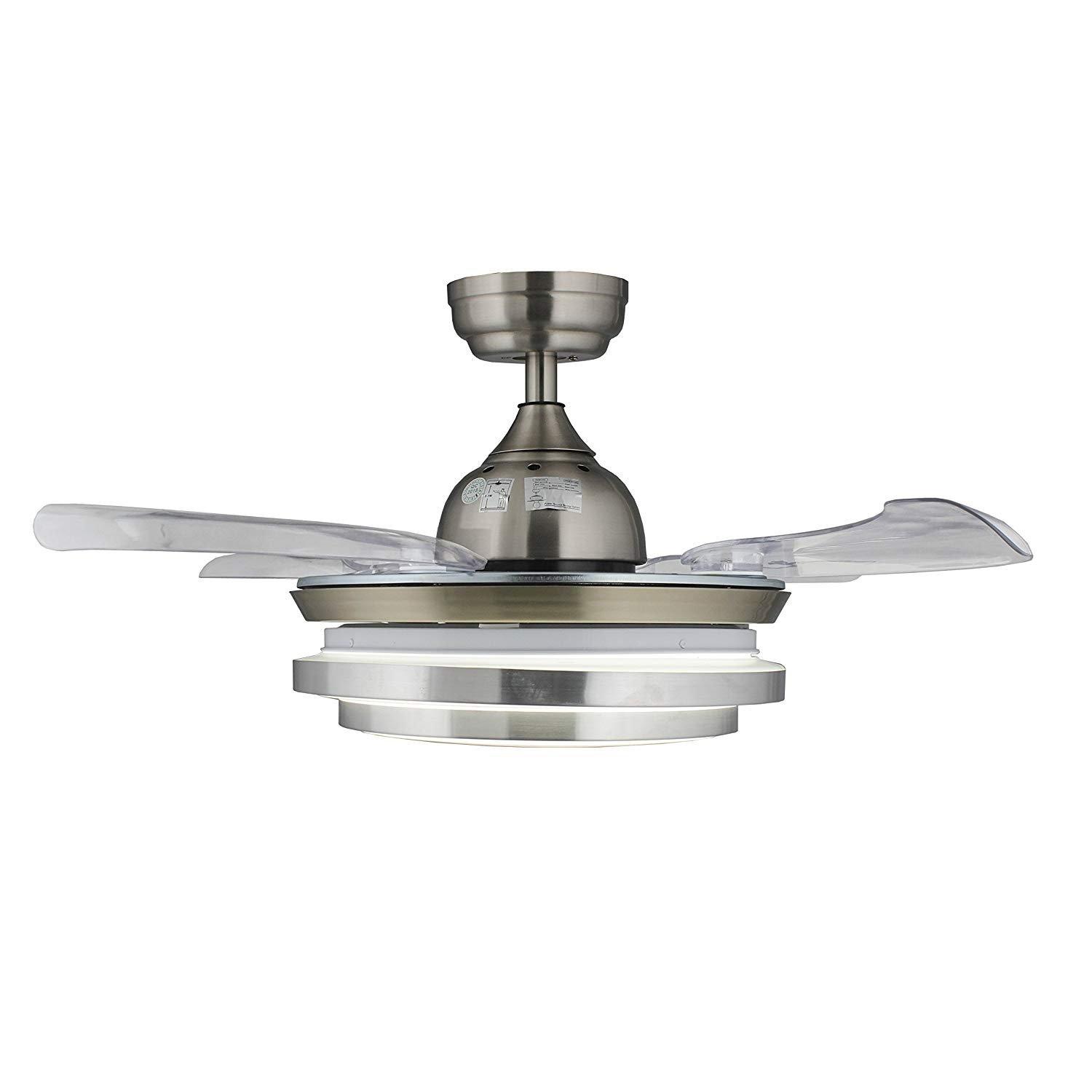 36 Crystal Ceiling Fans Acrylic Retractable Blades with 30W LED Light Kits 3000K-4000K and Remote Control, Chrome Finished