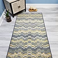 Choose Your Size YELLOW STRIPES Non-Slip Rubber Backed Hallway Carpet Runner Rug | 22-inch x 6-feet