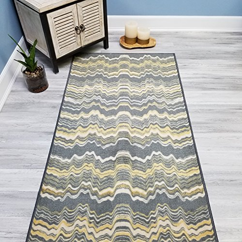 Choose Your Size YELLOW STRIPES Non-Slip Rubber Backed Hallway Carpet Runner Rug | 22-inch x 6-feet by WalGet