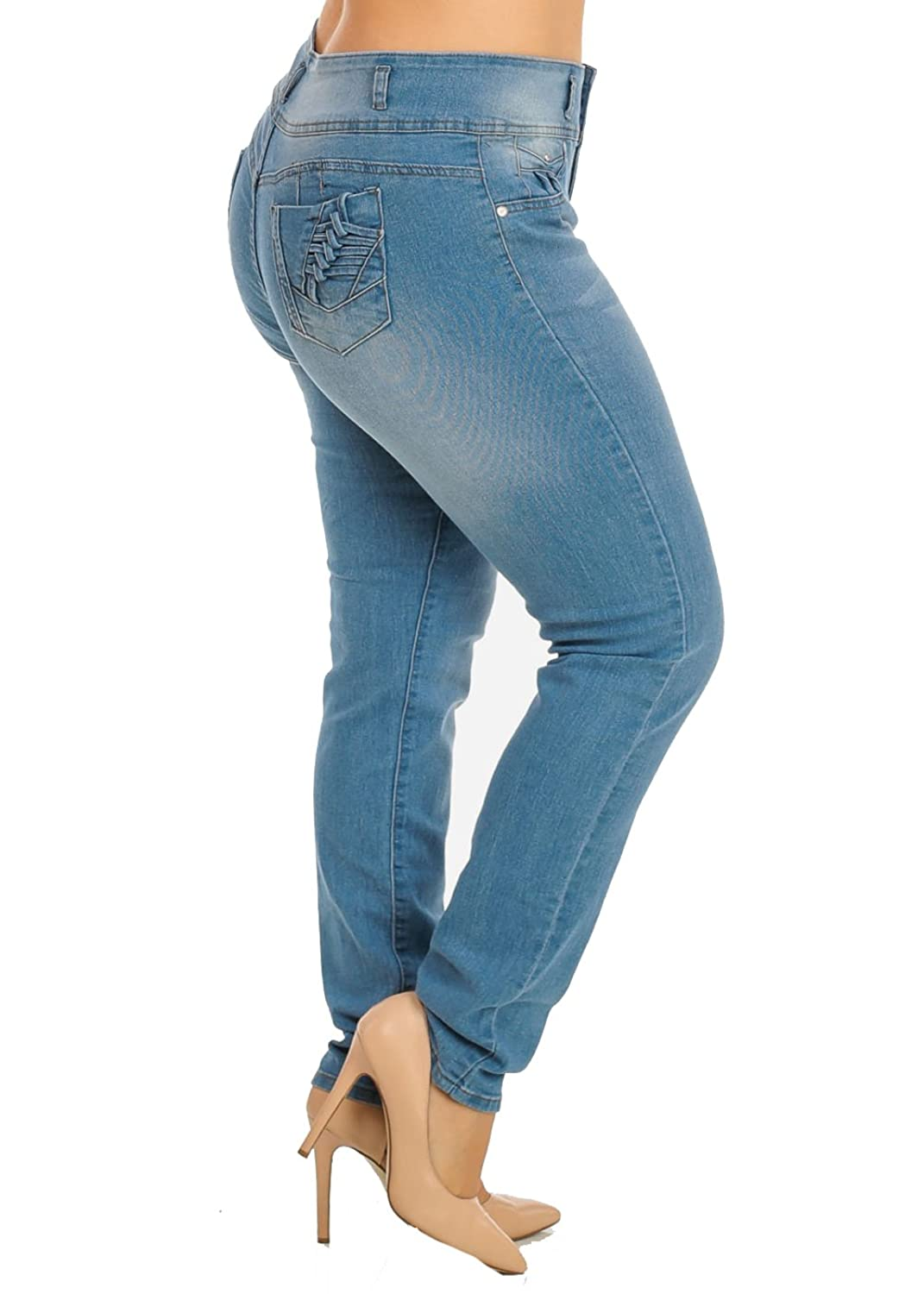 KABA Plus Size Stretchy Butt Lift Straight Leg Jeans 10077R