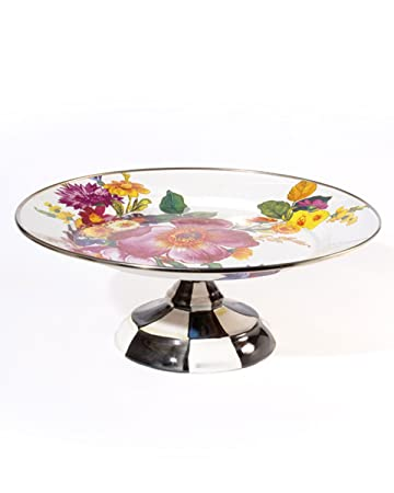 Amazon.com | MacKenzie-Childs Flower Market Enamel Small Pedestal ...