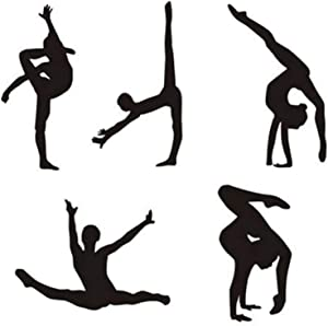 Maydahui Dancer Wall Decal Yoga Sport Art Wall Sticker (Set of 5 Pieces)Dance Gym Decor Home Decoration for Living Room Bed Room Girls Room