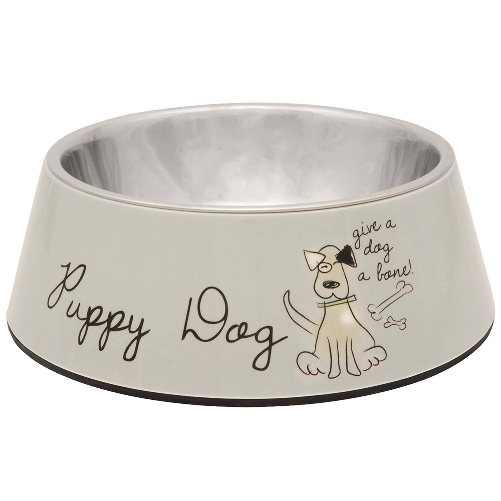 Beeztees Puppy Dog Melamine Dish, 22 x 7.5 cm, Beige