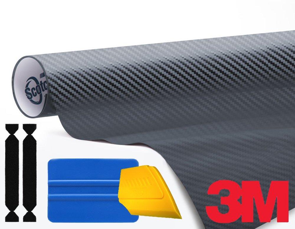 3M 1080 Carbon Fibre Anthracite Air-Release Vinyl Wrap Roll Including Toolkit (1ft x 5ft) VViViD