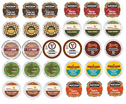 30 Winter Variety K Cup Pack - Includes Santa's White Christmas, Italian Rum, Maple Sleigh, Winterfest, Tiramisu, Creme Burle, Chocolate Mint and More