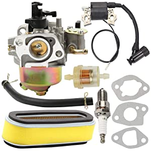 Kaymon GXV160 16100-ZE6-W01 Carburetor 30500-ZE7-043 Ignition Coil 17210-ZE6-003 Air Filter Cartridge Spark Plug for Honda HR194 HR214 HRA214 HR215 HR216 GXV120 GXV140 5.5 HP Lawn Mower Engine