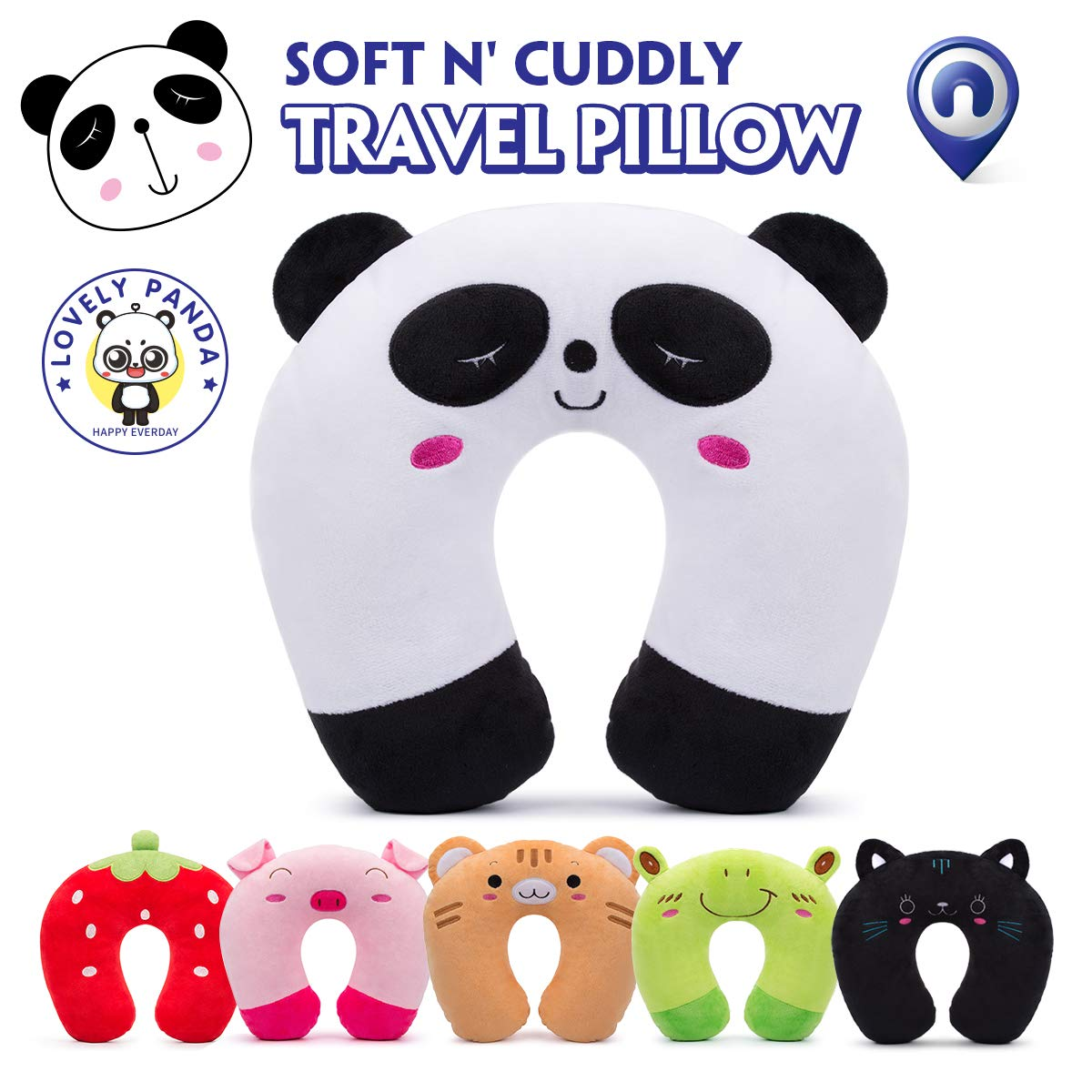 Travel Pillow for Kids Toddlers - Soft Neck Head Chin Support Pillow, Cute Animal, Comfortable in Any Sitting Position for Airplane, Car, Train, Machine Washable, attach luggage, Children gift (panda)