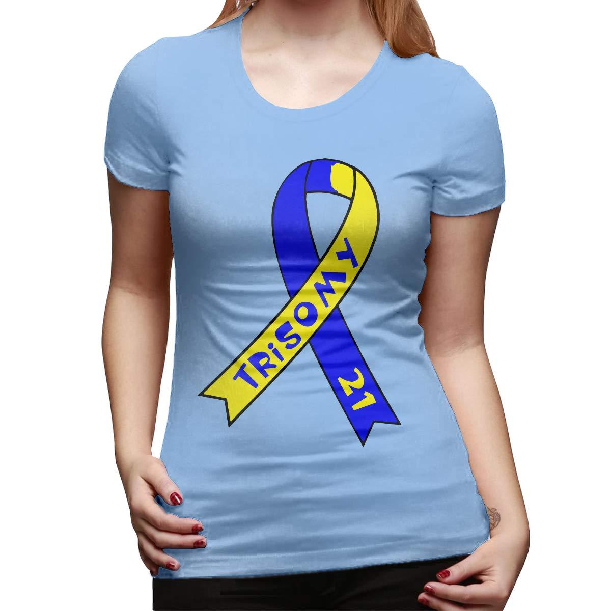POWNA Women Shirt Trisomy 21 Tshirt Short Sleeve T-Shirt Leisure Tshirt