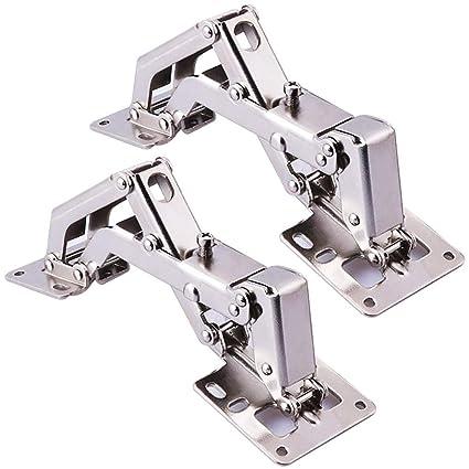 BESTZY Cierre Suave 170° Kitchen de Bisagras para Armario o Puerta + 16 tornillos - bisagras de puerta de ángulo grande - No requiere ranura - Fácil ...