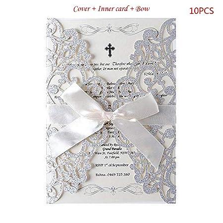 Yfairy Invitation Card 10pcs Set Encaje Purpurina