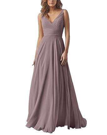 Review Yilis Double V Neck Elegant Long Bridesmaid Dress Chiffon Wedding Evening Dress