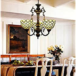 Makenier Vintage Decorative Classic Art Tiffany Style Stained Glass Yellow Bead 3 Arms Chandelier, 7 Inches Lampshade