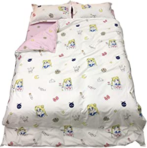 HOLY HOME Sailor Moon & Luna, Kid's Anime Idol Pink Bedding Duvet Cover Set Gift Bedclothes Plus Fitted Sheet and Pillow Case (Queen)
