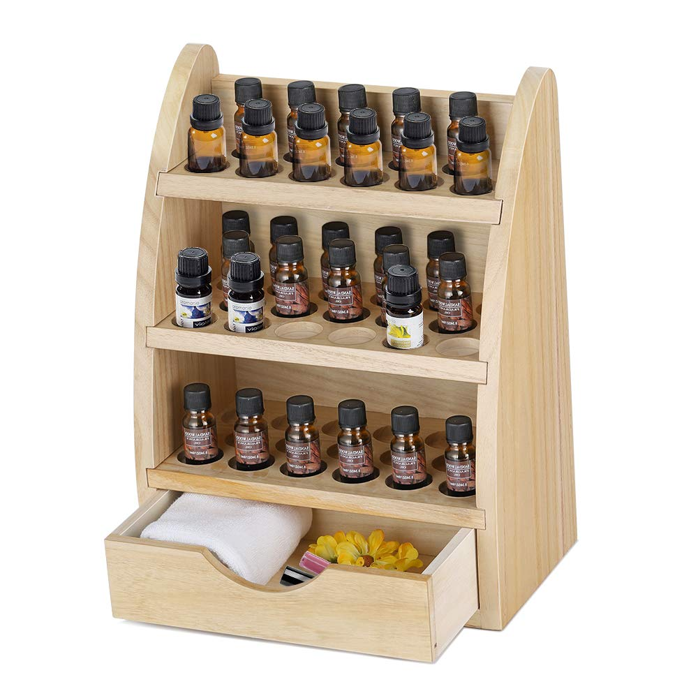Essential Oils Storage Rack, 45 Round Slots Wooden Nail Bottle Display Holder Organizer for 10ml, 15ml, 20ml, 30ml Bottles, Removable Shelf Nail Stand Polish Organizer Rack with Drawer Natural wood