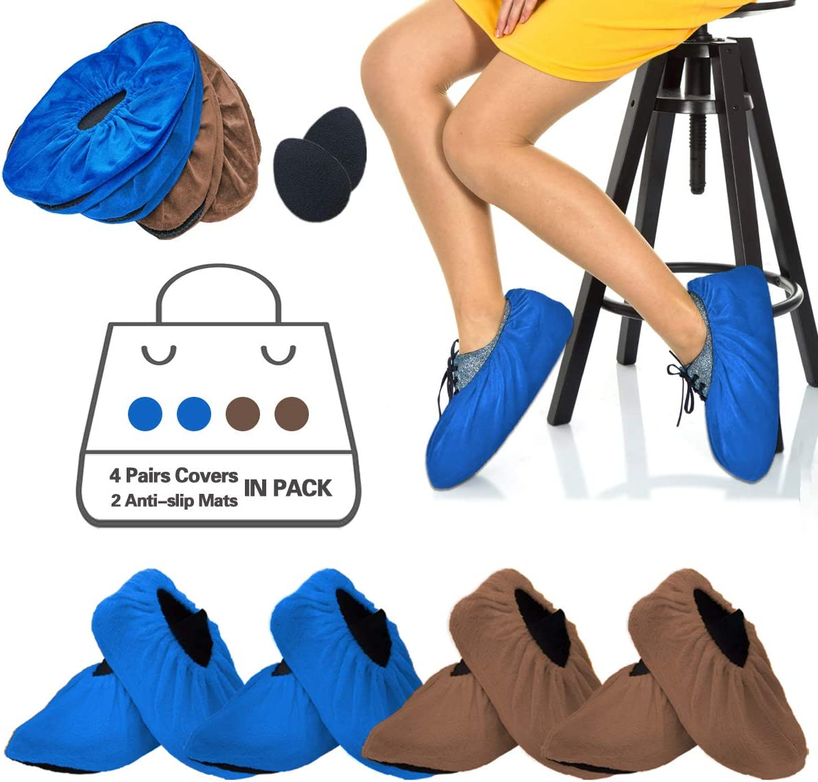 X-large 4 Pairs Washable Reusable Shoe Boot Covers Waterproof Non Slip Booties