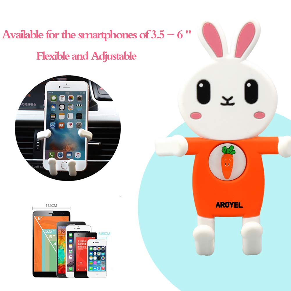 Universal Smartphone Car Air Vent Mount Silicone Cartoon Rabbit Cute Soft Holder Fit for Mobile Phones 3.5 to 6.5 for iPhone Xs//Xs Max XR X 6S 7 8 Plus Samsung Galaxy AROYEL 5558977328 Car Mount Phone Holde