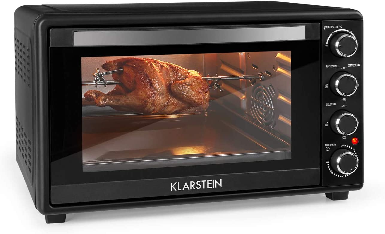 KLARSTEIN Masterchef 60 Mini Horno - 60 litros, 2000 W, temperatura: 100-230 °C, asador giratorio, función de circulación de aire, temporizador, puerta de doble cristal, acero inoxidable, negro