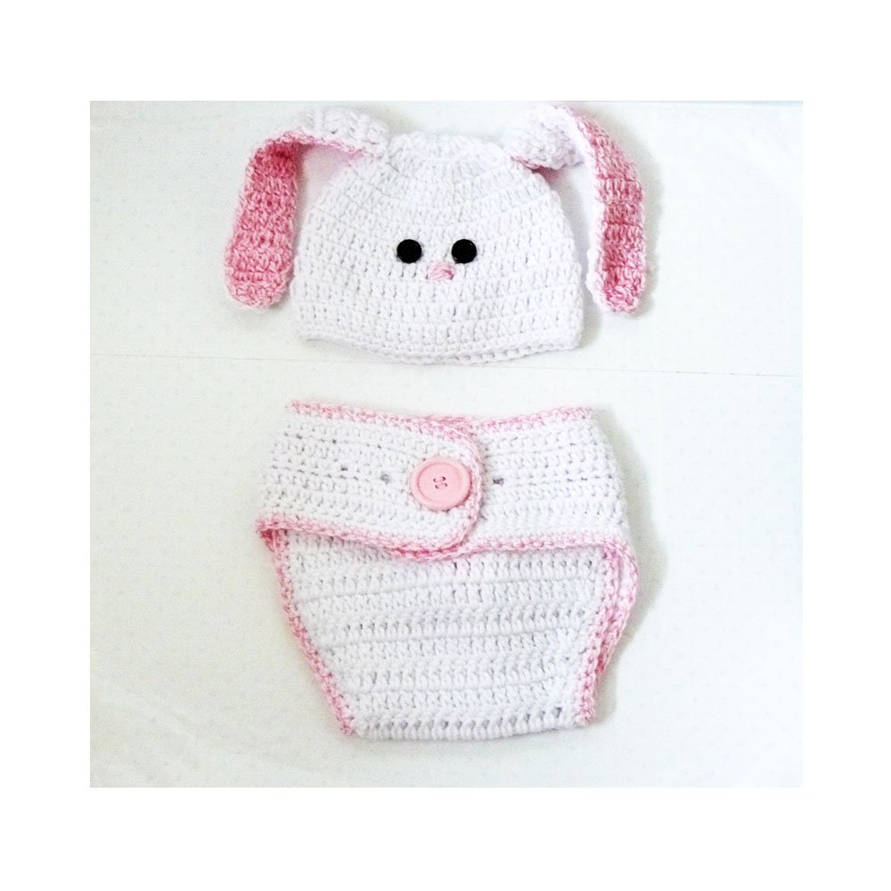 Amazon.com: Crochet Bunny Hat and Diaper Cover Set for Baby 6 - 12 ...