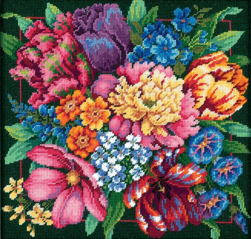 - Dimensions Needlepoint Kit, Floral Splendor, 14'' x 14''