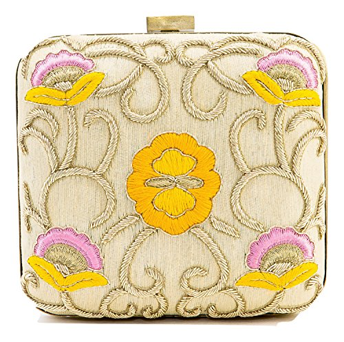 Floral Embroidered Cream Clutch with Beaded (Applique Clutch)