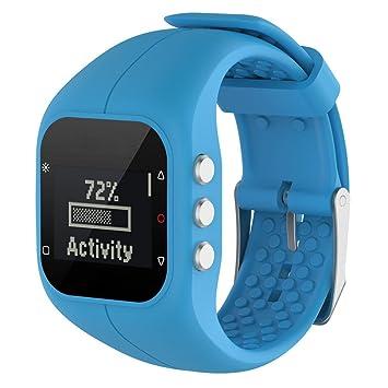 6896399d8e8d Repuesto correa de reloj OverDose piel-suave correa de reloj de pulsera de  silicona para reloj Polar A300 (Azul)