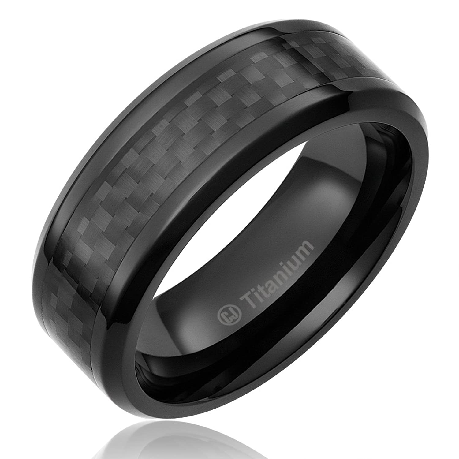 8MM Mens Titanium Ring Wedding Band Black Plated with Black Carbon