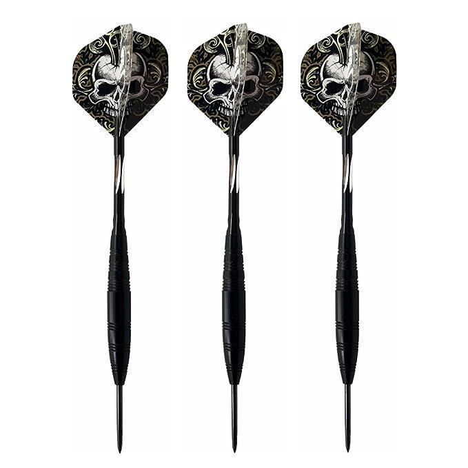 Hinsper 23g Skull Darts Steel Tip Darts Set Iron Barrel Darts for Home Gym Bar